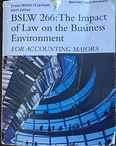 9781285031668: BSLW 266: The Impact of Law on the Business Environment for Accounting Majors (Montclair State University)