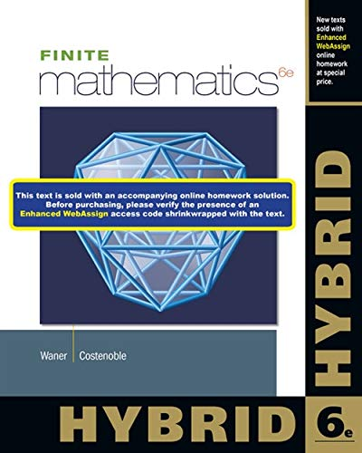 9781285056319: Finite Mathematics, Hybrid (with Enhanced WebAssign with eBook LOE Printed Access Card for One-Term Math and Science)