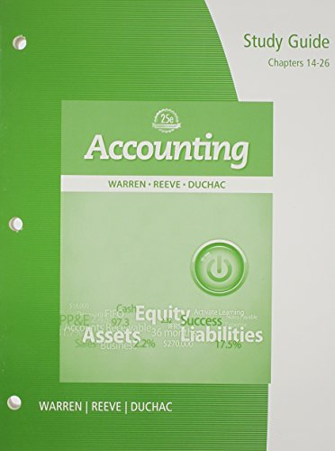 9781285073156: Study Guide, Chapters 14-26 for Warren/Reeve/Duchac's Accounting, 25th