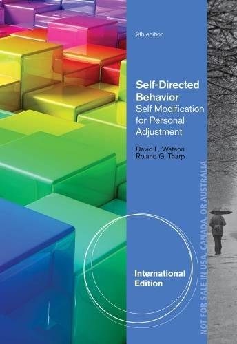 9781285077109: Self-Directed Behavior: Self-Modification for Personal Adjustment, International Edition