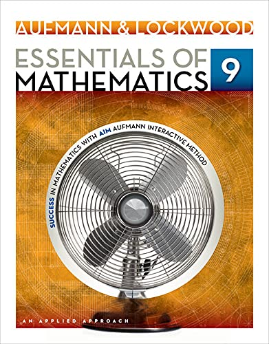 Essentials of Mathematics: An Applied Approach: Student Solutions Manual: Aufmann, Richard N.; ...