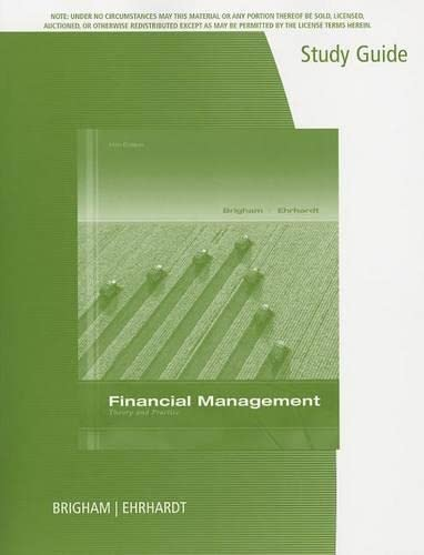 9781285098180: Study Guide for Brigham/Ehrhardt's Financial Management: Theory & Practice, 14th