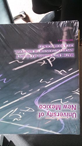 9781285108285: Unm Math 180 Applied Calculus for the Managerial, Life and Social Sciences
