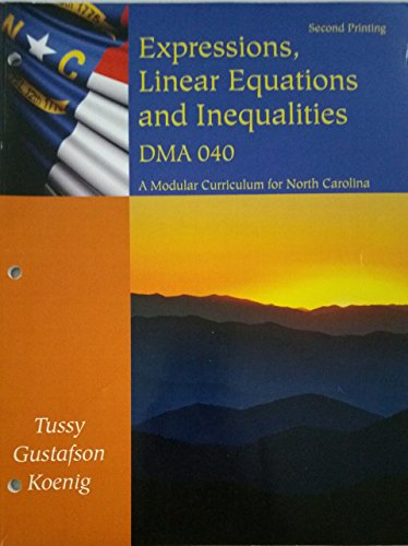 9781285134246: Expressions, Linear Equations and Inequalities DMA 040
