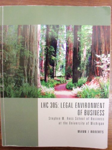 9781285139685: LHC 305: Legal Environment of Business: Stephen M. Ross School of Business At the University of Michigan
