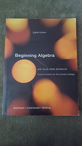 9781285142210: Beginning Algebra with Study Skills Workbook (Custom Edition for Rio Hondo College)