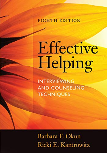 Effective Helping 9781285161594 Learn the skills and strategies you need to be an effective and empathic helper with EFFECTIVE HELPING: INTERVIEWING AND COUNSELING TECHNIQUES, Eighth Edition. Today's helpers must have a wider, more diverse range of knowledge and skills than ever before-including an understanding of culturally diverse human behavior and development, the process of change, the power of contemporary forces, and sound theories and methods of helping and communicating. This clear, applied, and respected book will help you master the skills of interviewing and relationship building to prepare you for the reality of what it's like to be a helper. It's also a resource you'll want to hold onto well into your career.