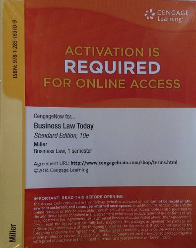 9781285163109: CengageNow for Business Law Today: 10th Edition (1 Semester)