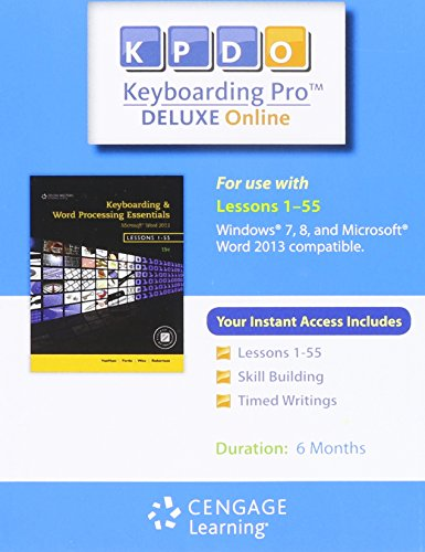 9781285176956: Keyboarding Pro Deluxe Online 6-month Printed Access Card for Keyboarding & Woed Processing Essentials 19e Lessons 1-55