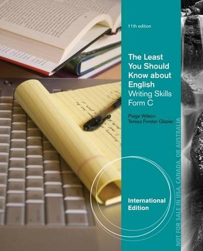 9781285177526: The Least You Should Know About English: Form C: Writing Skills