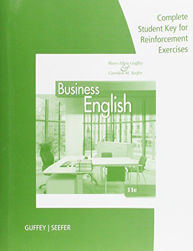 9781285181974: Complete Student Key: Answers to Reinforcement Exercises for Guffey/Seefer's Business English, 11th
