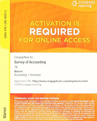 9781285183572: CengageNOW Printed Access Card for Warren's Survey of Accounting, 7th
