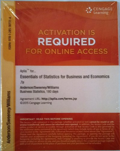 9781285187334: Aplia 1-Semester Printed Access Card for Anderson/Sweeney/Williams/Camm/Cochran's Essentials of Statistics for Business and Economics, 7th by Anderson (2014-01-01)
