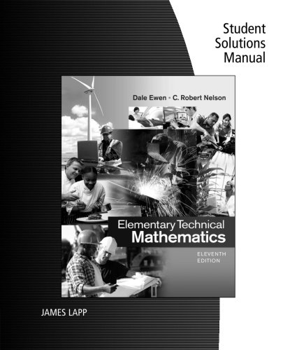 9781285199276: Student Solutions Manual for Ewen/Nelson's Elementary Technical Mathematics, 11th