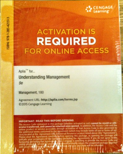 9781285421513: Aplia Printed Access Card for Daft/Marcic's Understanding Management, 9th