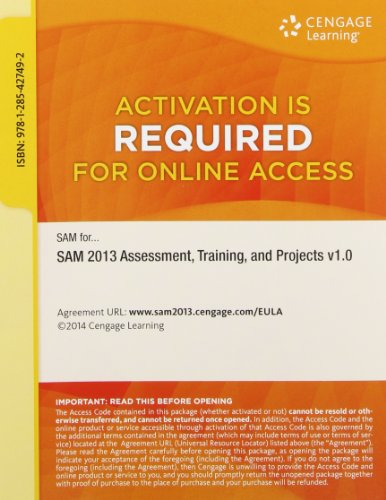 9781285427492: SAM 2013 Assessment, Training, and Projects v1.0 Printed Access Card