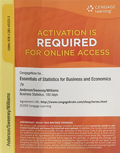 9781285433233: CengageNOW™ 1-Semester Printed Access Card for Anderson/Sweeney/Williams/Camm/Cochran's Essentials of Statistics for Business and Economics, 7th