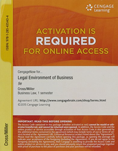 9781285435404: Cengage Learning Legal Environment of Business Access Code