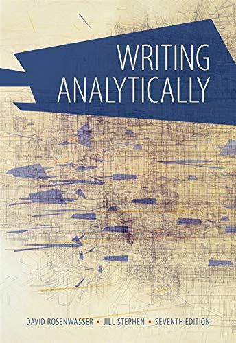 Writing Analytically: Rosenwasser, David; Stephen,