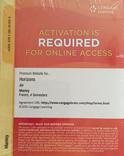 9781285457499: Premium Website for Horizons 6th Edition, French 4 Semesters, Manley/smith/prevost/mcminn's Horizons, 6th