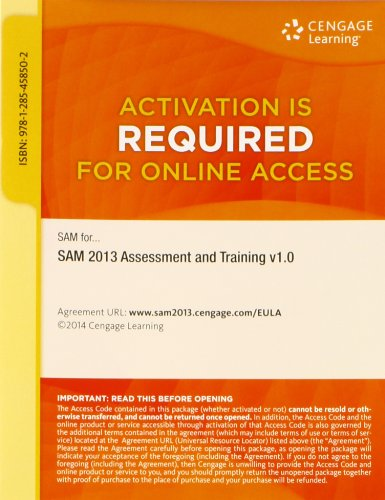 SAM 2013 Assessment and Training v1.0 Printed: Course Technology
