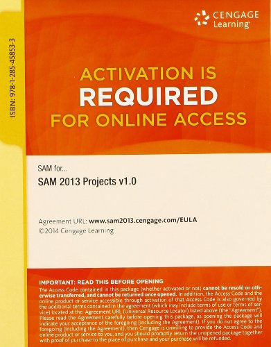 9781285458533: SAM 2013 Projects v1.0 Printed Access Card