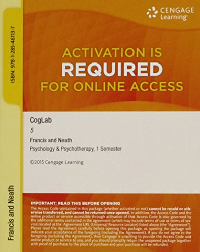 9781285461137: NEW CogLab with Cengage Learning Support -- for Cognitive Psychology