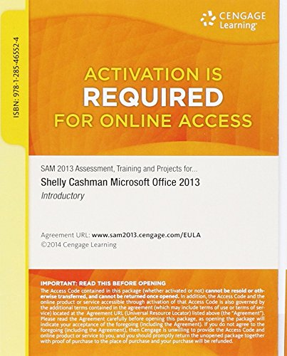 9781285465524: SAM 2013 Assessment, Training, and Projects with MindTap Reader v3.0 Multi-Term Printed Access Card for Microsoft Office 2013: Introductory
