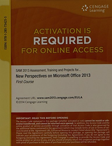 9781285734255: SAM 2013 Assessment, Training, and Projects with MindTap Reader, 1 term (6 months) Printed Access Card for Shaffer/Carey/Parsons/Oja/Finnegan's New Perspectives on Microsoft Office 2013, First Course