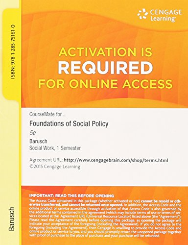 9781285751610: Coursemate for Foundations of Social Policy