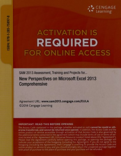 9781285758978: New Perspectives on Microsoft Excel 2013 Comprehensive SAM 2013 Assessment -PRINTED ACCESS CARD 2013