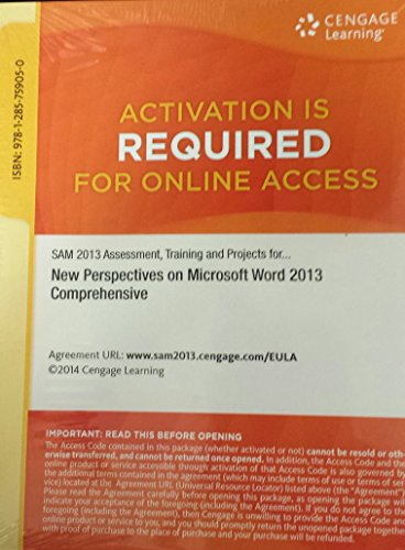 9781285759050: SAM 2013 Assessment, Training and Projects with MindTap Reader for New Perspectives Microsoft Word 2013 Comprehensive Printed Access Card