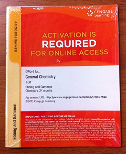 9781285762159: Owl2 Access Code for General Chemistry 10th Edition (24 months)