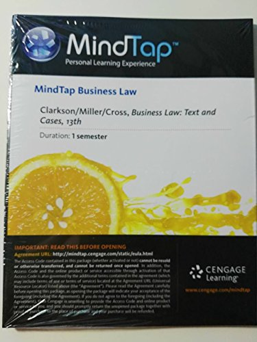 Mindtap Clarkson/miller/cross Business Law Text and Cases