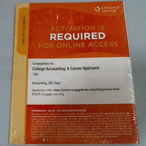 9781285780016: Cengagenow, 1 Term (6 Months) Printed Access Card for Scott's College Accounting: A Career Approach, 12 Edition