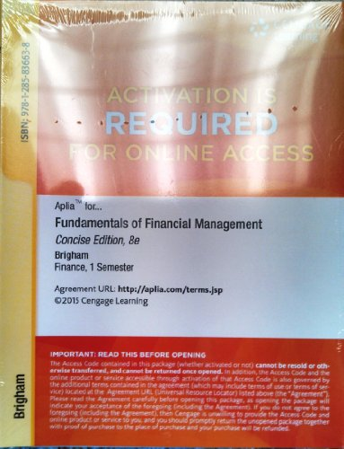 9781285836638: Aplia™ Printed Access Card for Brigham/Houston's Fundamentals of Financial Management, Concise Edition, 8th