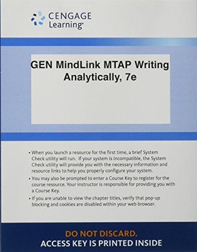 9781285841687: MindLink for MindTap, Writing Analytically 7e