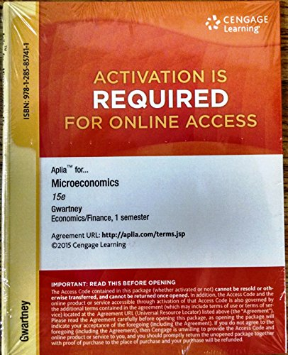 9781285857411: Aplia Printed Access Card for Gwartney/Stroup/Sobel/Macpherson's Microeconomics: Private and Public Choice, 15th
