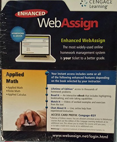 Enhanced WebAssign Web Assign Access Code Card