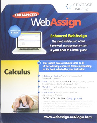 9781285858265: Enhanced WebAssign Printed Access Card for Calculus, Multi-Term Courses, Life of Edition, 1st Edition