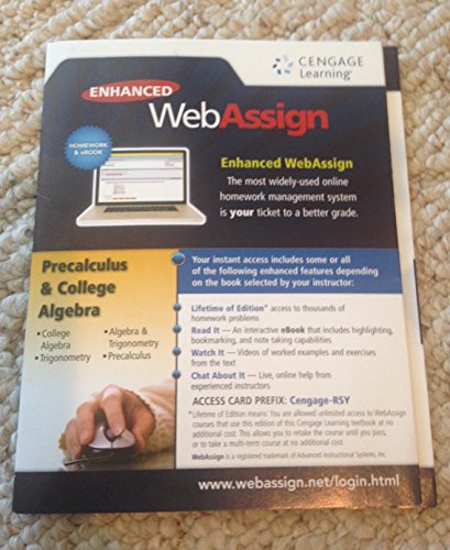 Enhanced Web Assign Precalculus and College Algebra: Learning, CENGAGE