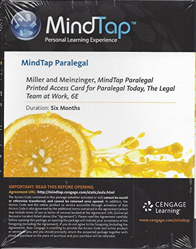 9781285861173: MindTap® Paralegal, 1 term (6 months) Printed Access Card for Miller/Meinzinger's Paralegal Today: The Legal Team at Work, 6th Edition
