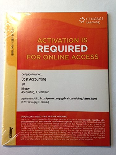 9781285866284: CengageNOW 1 term Printed Access Card for Kinney/Raiborn's Cost Accounting: Foundations and Evolutions, 9th