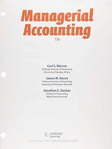 Managerial Accounting: Warren, Carl S.,