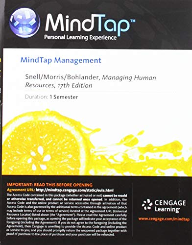 9781285872650: MindTap Management, 1 term (6 months) Printed Access Card for Snell/Morris/Bohlander's Managing Human Resources, 17th (MindTap Course List)