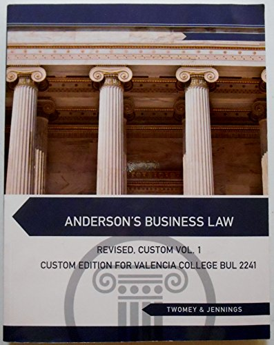 9781285892177: Anderson's Business Law: Revised, Custom Vol. 1 (For Valencia College BUL 2241)