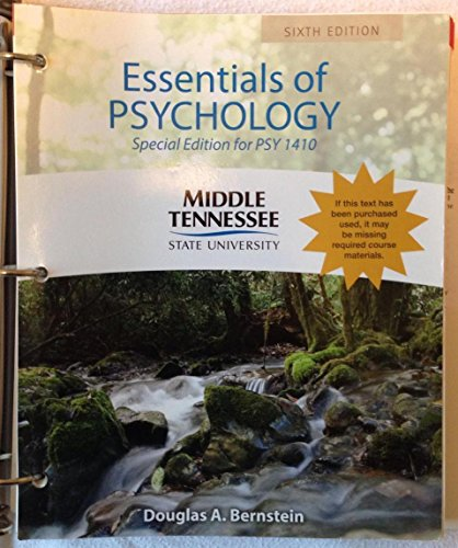 9781285906713: Essentials of Psychology Special Edition for PSY 1410 Middle Tennessee State University MTSU