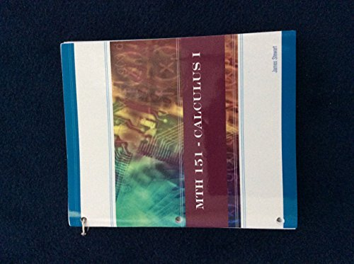 9781285911465: MTH 151 - Calculus I James Stewart Paperback Miami University