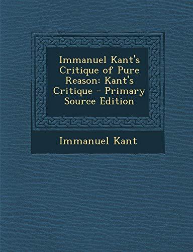 9781287920847: Immanuel Kant's Critique of Pure Reason