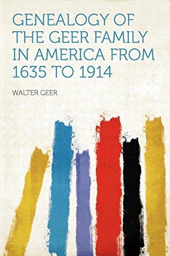 Genealogy of the Geer Family in America